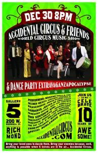 Accidental Circus show in Richmond, VA Dec 30